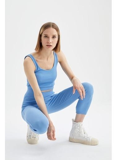 DeFacto Kare Yaka Askılı Pamuklu Crop Atlet Mavi